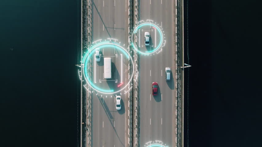 4k aerial view of driverless or autonomous car. Traffic passing by a highway. Plate number, speed limit and ID number displaying. Future transportation. Artificial intelligence. Self driving.