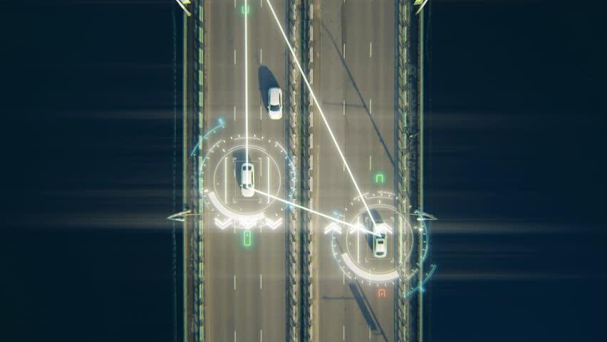 4K Aerial View Self Driving Autopilot Autonomous Cars