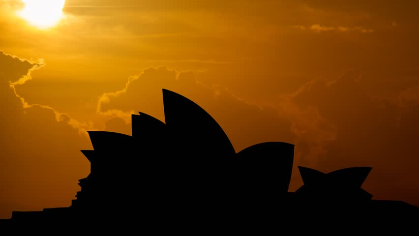Sydney, August 2015: Iconic Opera House in Silhouette at Sunset, Australia
