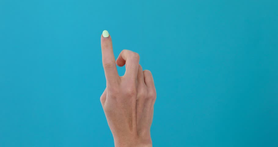 Closeup of isolated on blue adult female hand counting from 0 to 5. Woman shows fist fist, then one, two, three, four, five fingers. Manicured nails painted with beautiful polish. Math concept. | Shutterstock HD Video #1027206869
