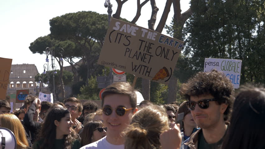 Rome,Italy, 15 March 2019: Global Climate Strike:People Picketing With Banners | Shutterstock HD Video #1027210553
