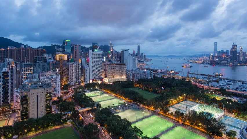 Hong Kong, China - CIRCA 2016: elevated view, Victoria park and Central district of Hong Kong Island | Shutterstock HD Video #1027218359