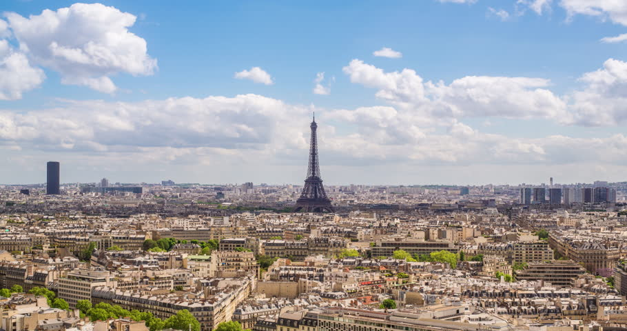 Paris, France, Europe - CIRCA 2017: Eiffel Tower, elevated aerial view over rooftops | Shutterstock HD Video #1027219055
