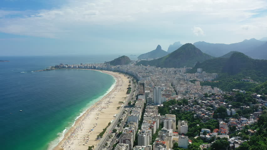 Aerial view of legendary beach Copacabana (Praia de Copacabana) in city of Rio de Janeiro - landscape panorama of Brazil from above, South America