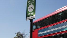 ULEZ stock footage London, UK - April 9 2019: ULEZ (Ultra low emission zone) London prepare Ultra Low Emission Zone (ULEZ) warning sign central London. ULEZ, £12.50 from 8th april  video, clip