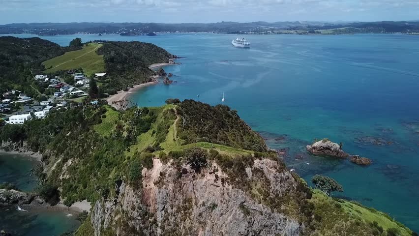 Drone view of Tapeka point, Russell Island, New Zealand. | Shutterstock HD Video #1027343885