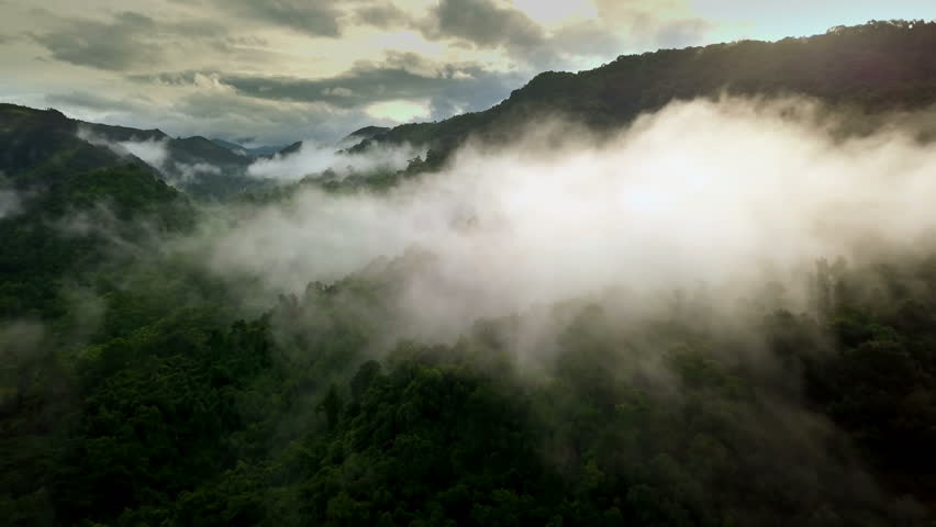 Aerial view flying above lush green tropical rain forest mountain with rain cloud cover during the rainy season on the Doi Phuka Mountain reserved national park the northern Thailand