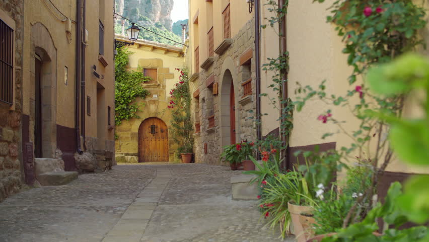 Travelling from a quiet street of a village. Agüero. Huesca Royalty-Free Stock Footage #1027388537