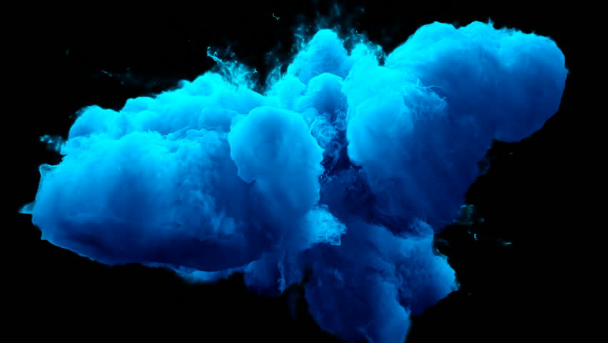 Blue Color Burst - colorful smoke powder explosion fluid ink particles slow motion alpha matte isolated on black