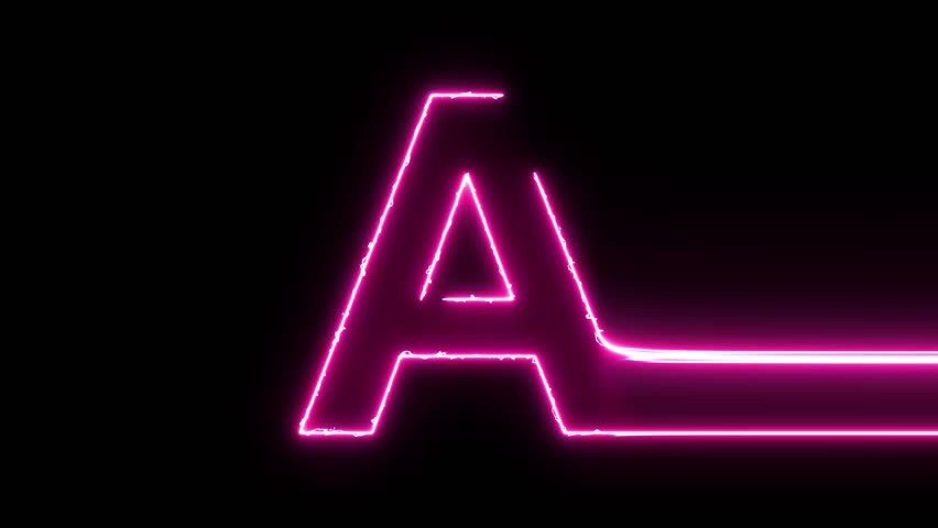 Letter A reveal neon electric glowing motion wipes to center. 4K 60 fps video render footage
