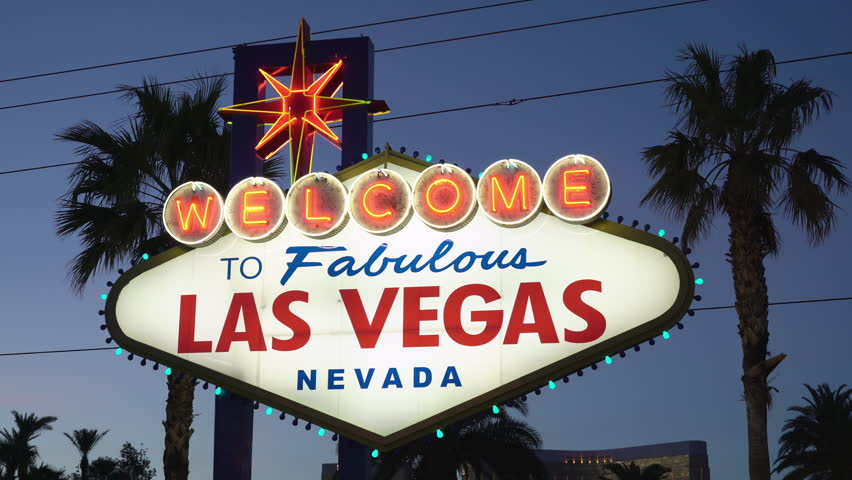 Welcome to Fabulous Las Vegas Nevada Neon Sign with blue night sky.