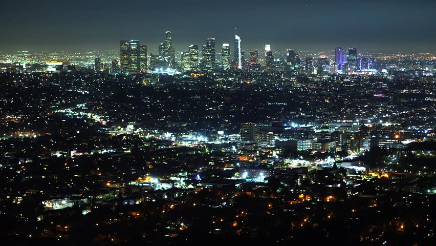 Aerial view over Los Angeles by night - travel photography