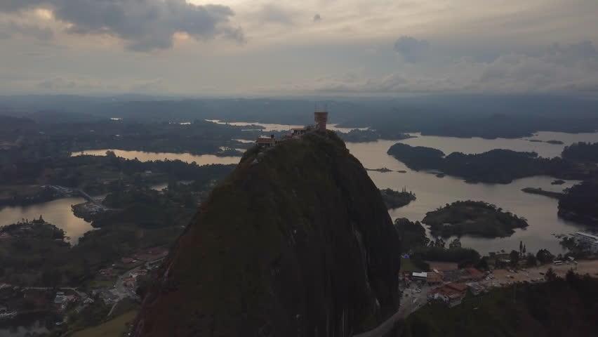 Guatape, Colombia Aerial View - El Peñón de Guatapé   Shutterstock HD Video #1027514114