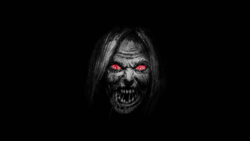 Scary zombie woman face emerging from the dark. Animation in genre of horror. Black and white colors.