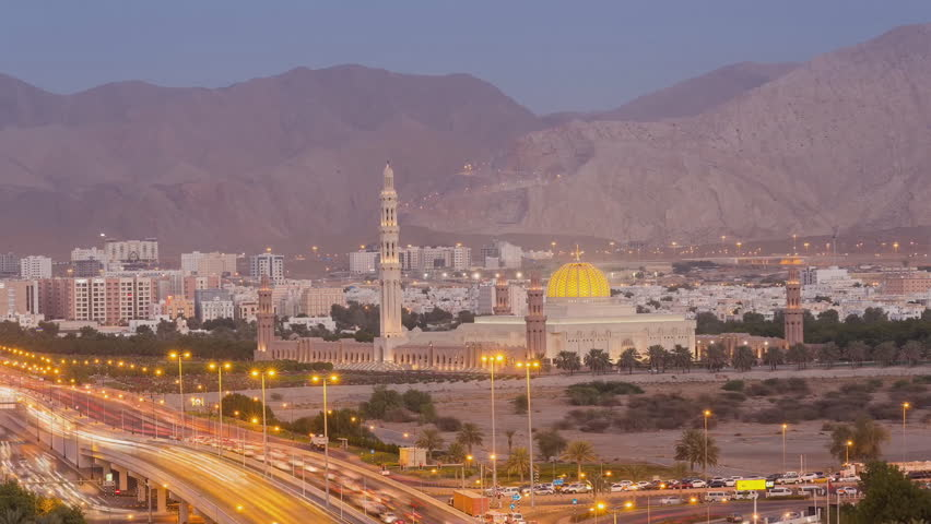 The Sultan Kabus Mosque or the Muscat Cathedral Mosque is the main mosque of Muscat, Oman. (oman masjid) time-lapse