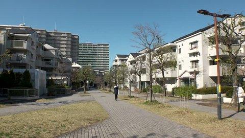 TAMA CITY,  TOKYO,  JAPAN - CIRCA APRIL 2019 : Scenery of RESIDENTIAL AREA in TAMA CITY.