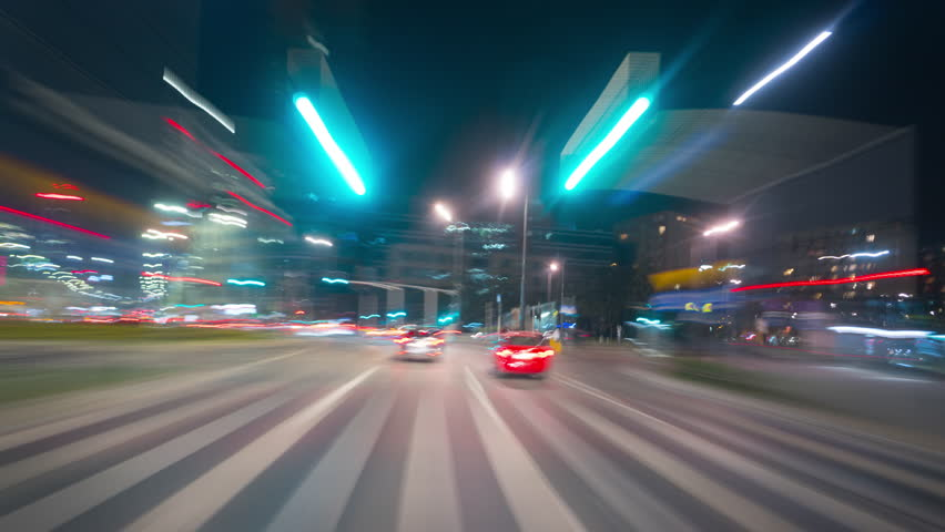 Poland, Warsaw, circa April 2019: Driving a car in the center of Warsaw, time-lapse | Shutterstock HD Video #1027548830