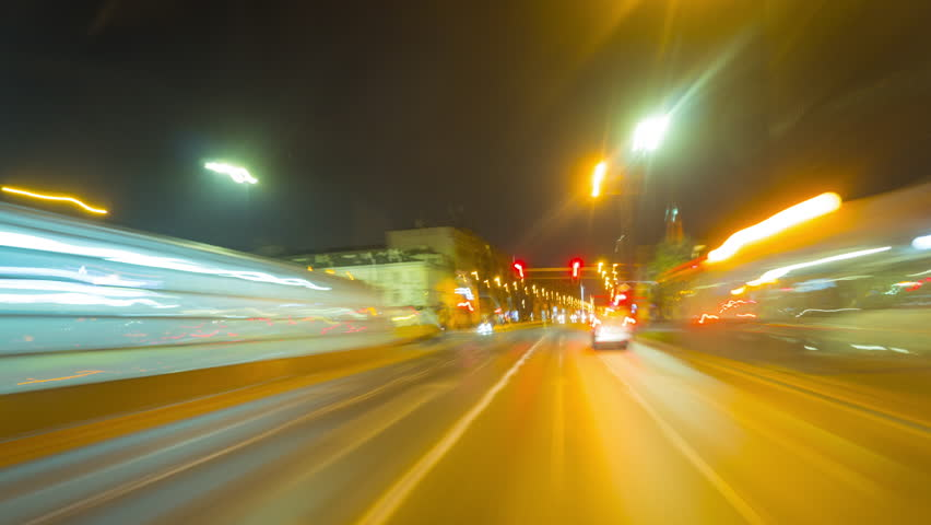 Poland, Warsaw, circa April 2019: Driving a car in the center of Warsaw, time-lapse | Shutterstock HD Video #1027548833
