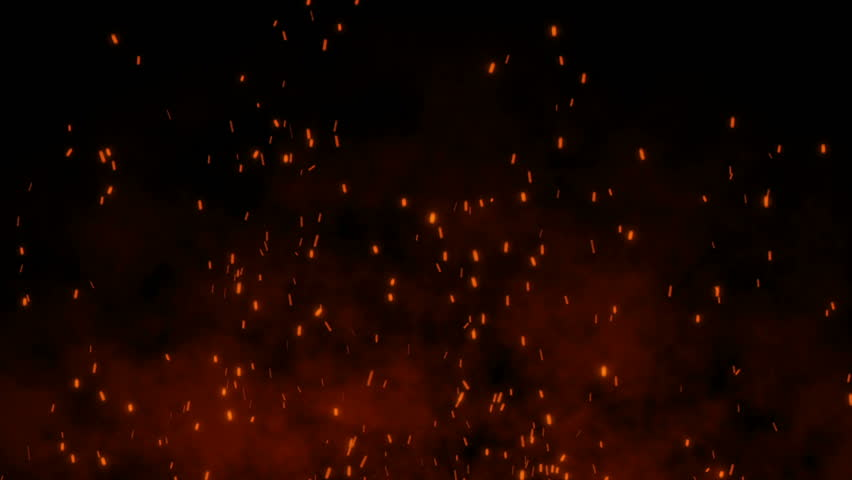 Burning hot bonfire fire sparks on a dark background. Cartoon fire Animation. Raging Cartoon Campfire Flames.Particles over black background.Flying Embers from fire.
