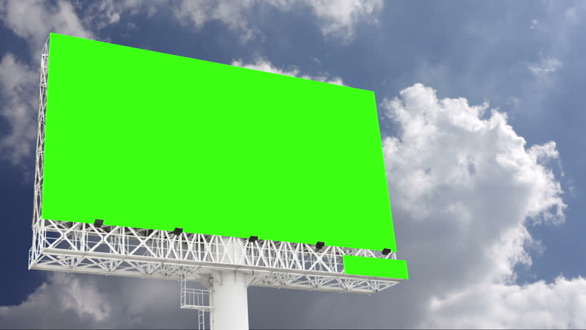 Advertising billboard green screen with blue sky and white cloud, timelapse | Shutterstock HD Video #1027560065