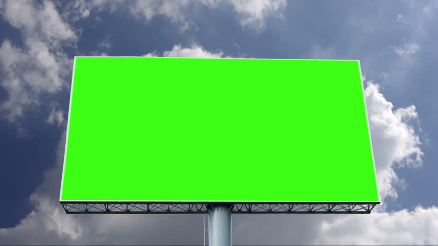 Advertising billboard green screen with blue sky and white cloud, timelapse | Shutterstock HD Video #1027560074