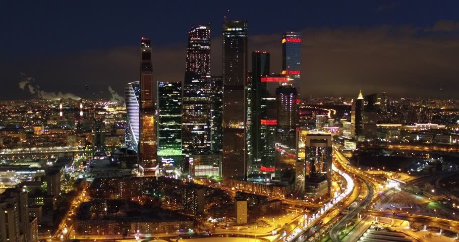 """Drone shoot beautiful view but the night skyscrapers of the Moscow International Business Center """"Moscow-City"""" in the lights of the capital, Russia 