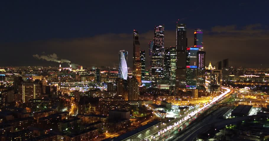 View of the skyscrapers of Moscow City at night aeril shoot, Russia | Shutterstock HD Video #1027615451