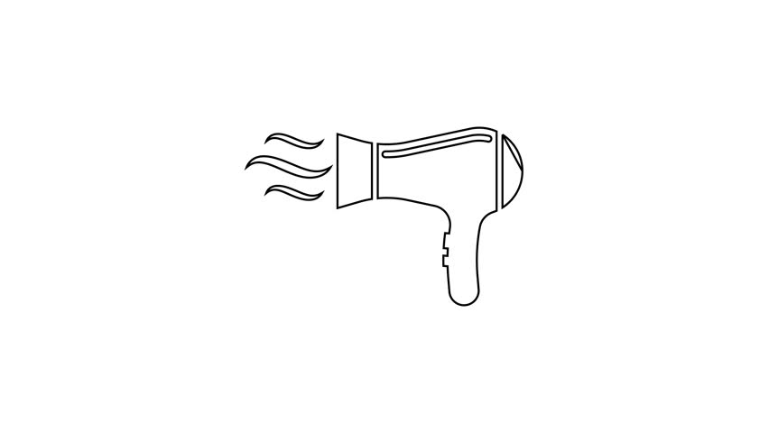 Grey Hair Dryer Line Icon Stock Footage Video 100 Royalty Free 1027617839 Shutterstock