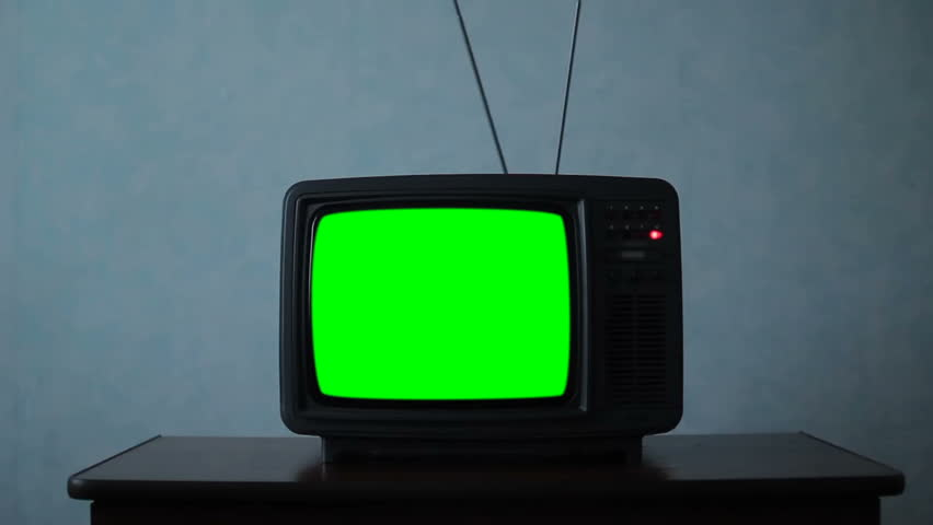 Old Television Green Screen. Night Watch in a dark room | Shutterstock HD Video #1027620686