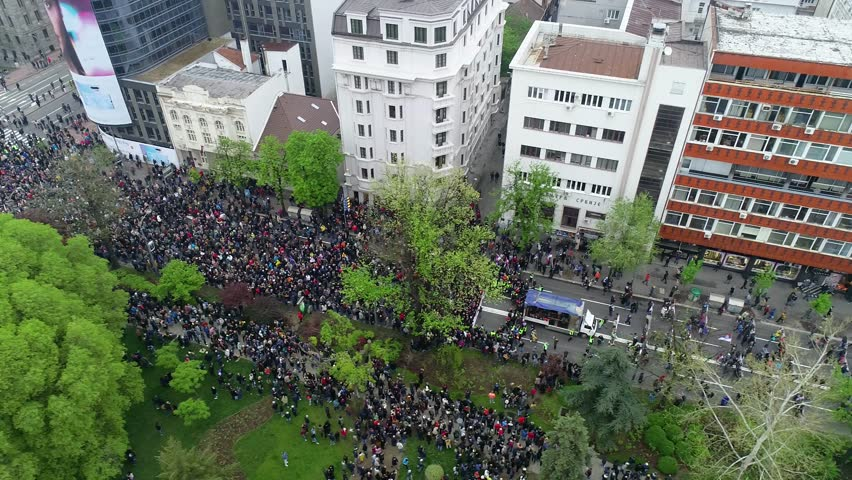 "BELGRADE, SERBIA - APRIL 13, 2019: Protest ""svi kao jedan"" against regime, aerial drone video 4K ,  | Shutterstock HD Video #1027630721"