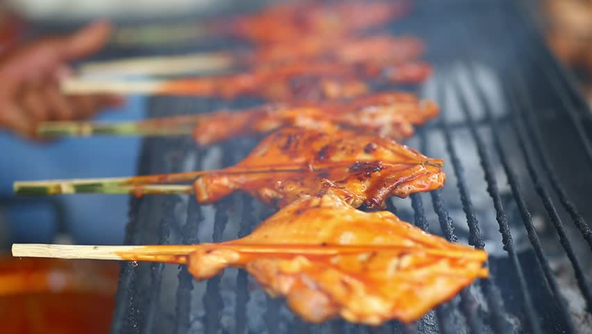 Street thai food, grilled chicken barbecue   Shutterstock HD Video #1027636919