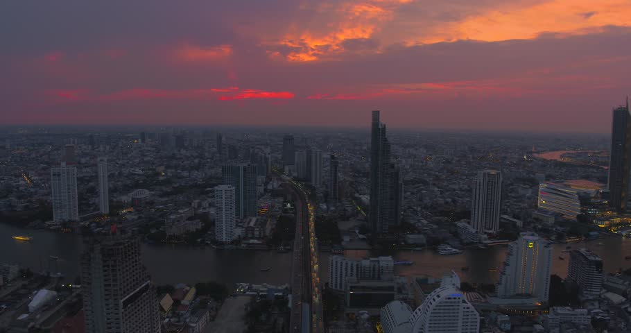 BANGKOK THAILAND - April 7 : aerial view of Taksin Bridge and Sathorn road in heart of Bangkok capital on April 7 , 2019 in Bangkok. Thailand #1027639499