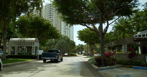 MIAMI - APRIL 10, 2019: Travel footage Brickell Key Miami 4k 60p
