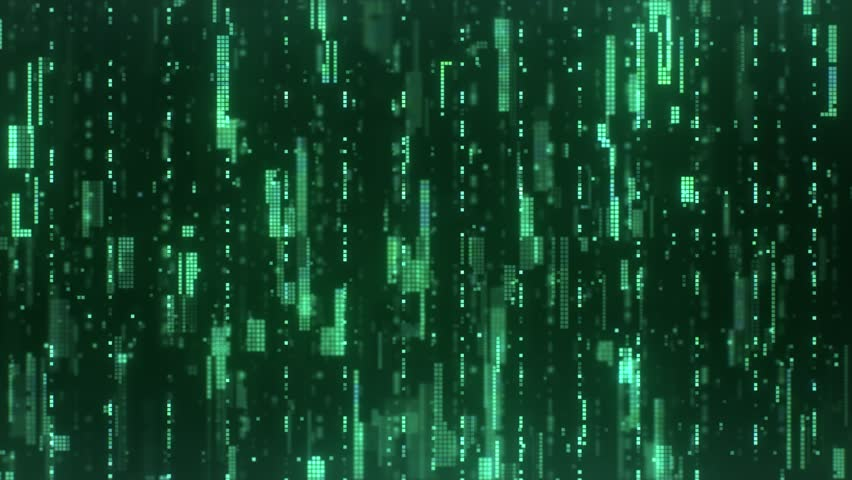 The abstract high-tech digital background represents big data analysis. Flying upwards along the bright green flickering pixels combined into matrices randomly spaced over a dark background. | Shutterstock HD Video #1027652816