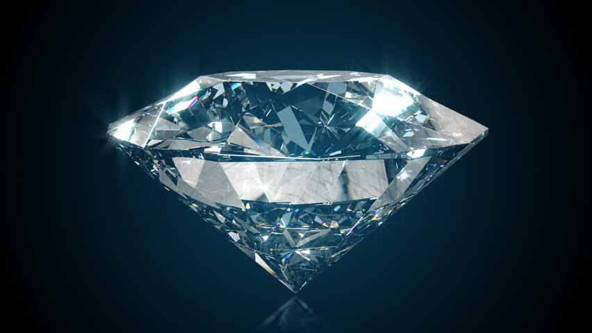 Beautiful large crystal clear shining round cut diamond, rotates against a black mirror isolated background. Close up side view. Seamless loop 4k cg 3D animation