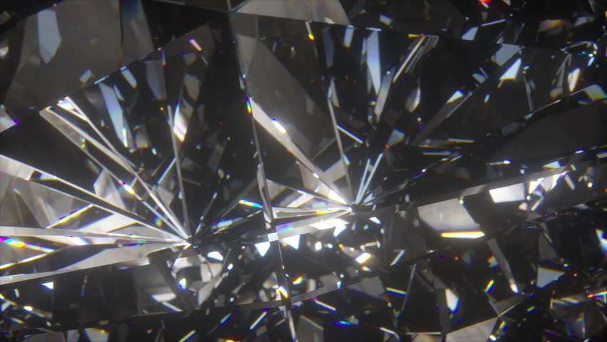 Beautiful slowly rotating diamond. Seamless loop 4k cg 3d animation, nice looping abstract background.