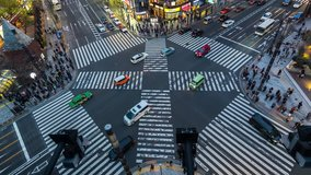 Time lapse of busy intersection in Ginza, Tokyo, Japan.