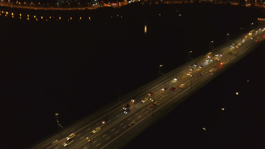 4K Aerial. City highway, road with car fires . Night city traffic  team
