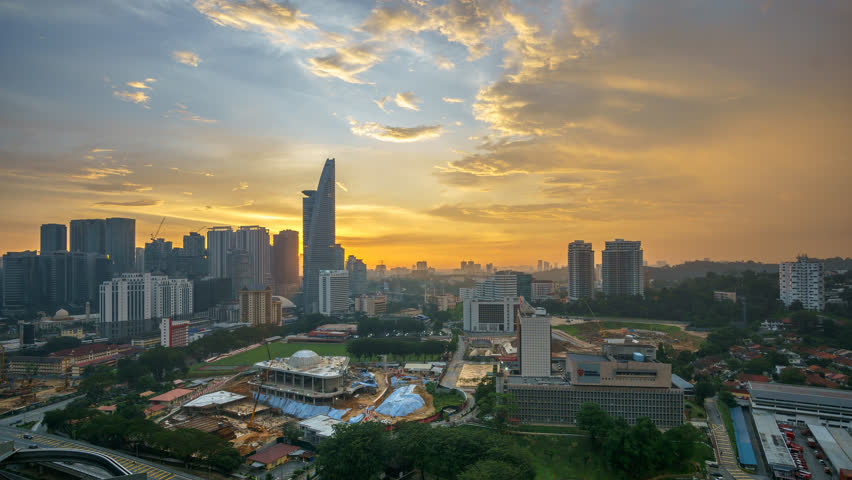 Timelapse Of Colorful Sunset At Kuala Lumpur. | Shutterstock HD Video #1027682834