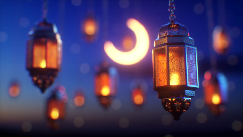 Ramadan candle lanterns are hanging on dawn sky background with glowing stars and a crescent. There is a space on top for your message text and logo. Top quality 3d animation. Royalty-Free Stock Footage #1027722329
