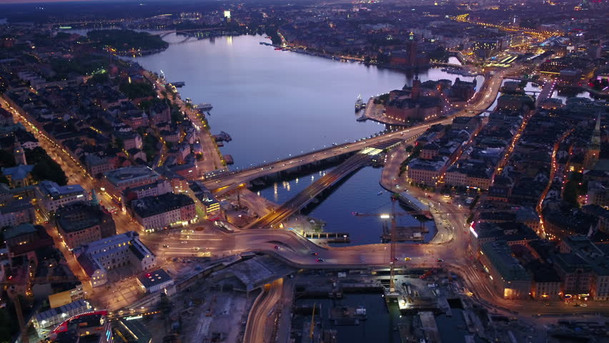 Aerial Sweden Stockholm June 2018 Night 30mm 4K Inspire 2 Prores  Aerial video of downtown Stockholm in Sweden at night | Shutterstock HD Video #1027724483