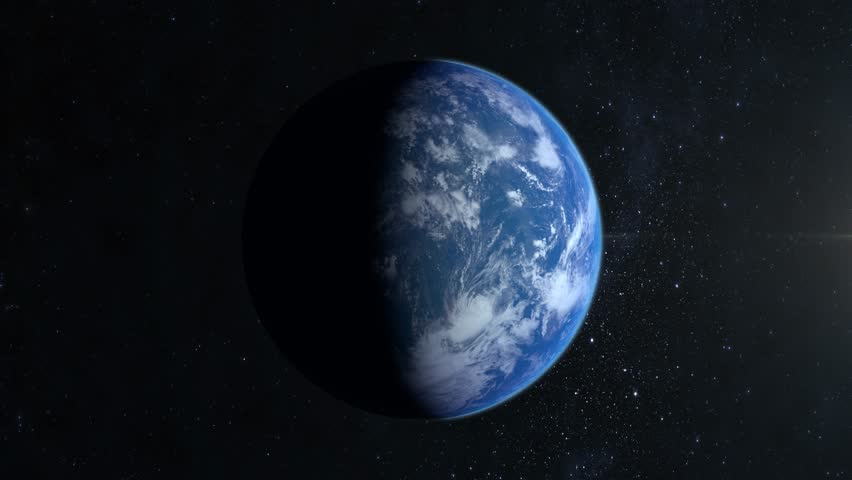 Earth. The camera flies around. A view from space. Stars twinkle. 4K. Half of the Earth is illuminated by the sun on the right. Realistic atmosphere. Starry sky. | Shutterstock HD Video #1027725299