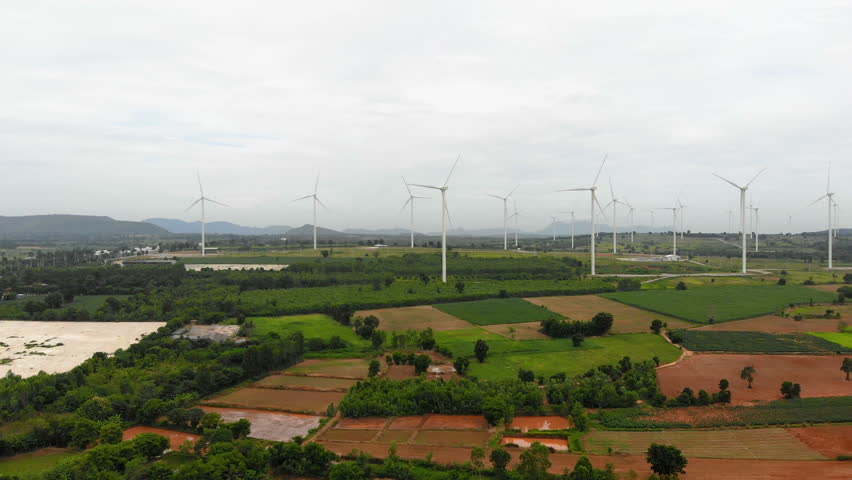 Scenic landscape of wind turbine for electric generation eco and clean power  | Shutterstock HD Video #1027769084