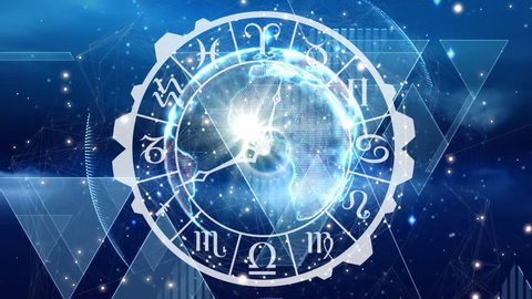 Digitally generated animation of zodiac sign clock with a globe at the center and background shows glowing lights.