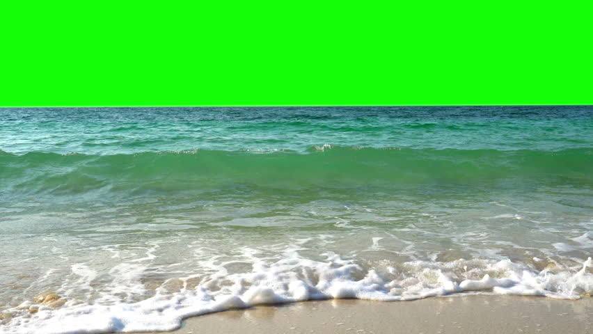 4K Video Landscape wide shot of blue sea water waves splashing against tropical sand beach in the island with chroma key green screen background. The sun glimmering flares peeking the sea surface. | Shutterstock HD Video #1027798583