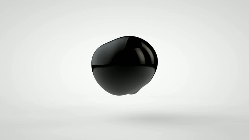 3D animation of a plurality of drops of black oil, flying and fusing.
