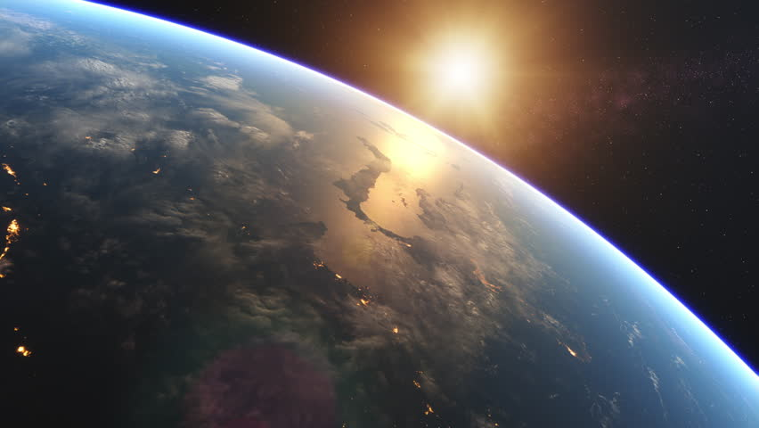 4K Beautiful Sunrise over Earth. Realistic earth with night lights from space. High quality 3d animation. Elements of this image furnished by NASA. #1027809641