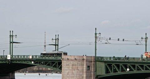 St Petersburg Russia - 02 march 2019: Dvortcoviy bridge Neva-river St Petersburg