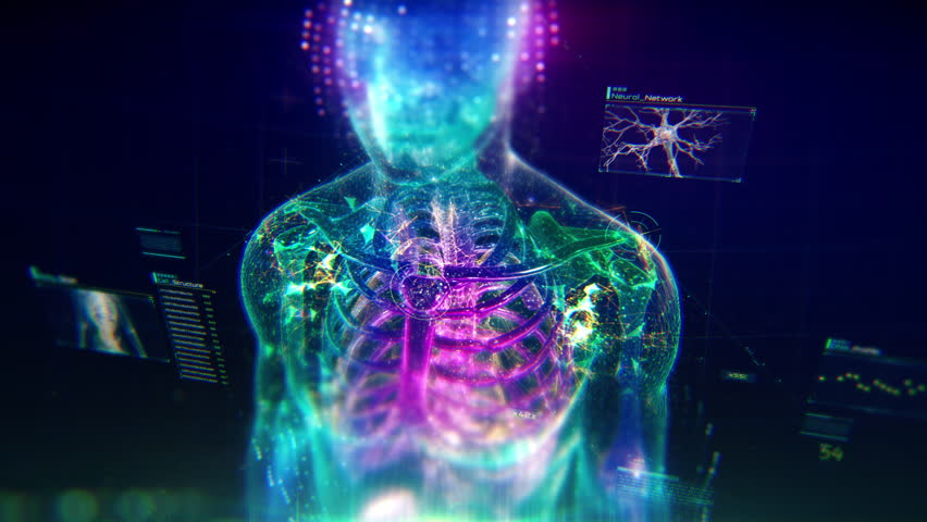 Colorful Human Body animation with infographics and particles showing bones, organs and skin. Plexus. Futuristic and Artistic concept of human anatomy. 4K UHD Royalty-Free Stock Footage #1027823342