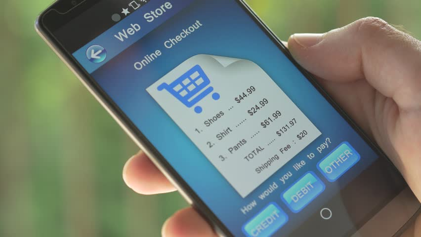 Smartphone screen showing a online checkout process. We can clearly see a bill from a Internet online store being paid. Royalty-Free Stock Footage #10278239